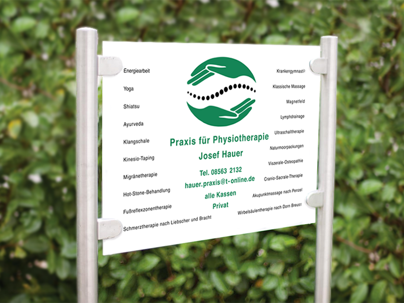 Firmenschild Physiotherapie